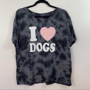 Fifth Sun Tye Dye I Love Dogs Shirt